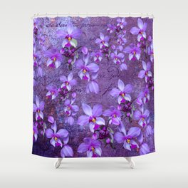 purple orchids on a textured wall Shower Curtain