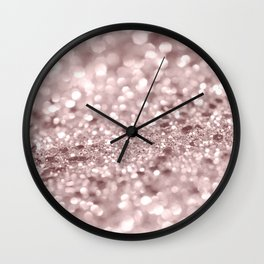 Sparkling Rose Gold Blush Glitter #1 #shiny #decor #art #society6 Wall Clock