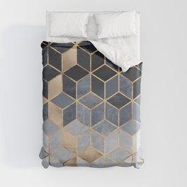 Soft Blue Gradient Cubes Duvet Cover