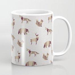 Folded Forest - Geometric Origami Animals Pattern Coffee Mug