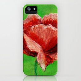 Red rose flower drawing on green background iPhone Case