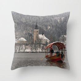 Red Pletna Boat At Lake Bled Throw Pillow