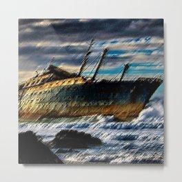 The Spirit of America Coastal Shipwreck Landscape by Jeanpaul Ferro Metal Print