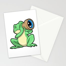 Frog at looking through Telescope Stationery Cards