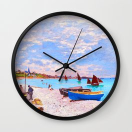 The Beach at Sainte Adresse Painting Claude Monet French Impressionism Art Print Nautical Painting Wall Clock