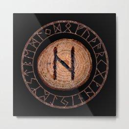 Hagalaz - Elder Futhark rune Metal Print