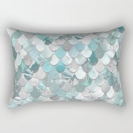 Mermaid Aqua and Grey Rectangular Pillow