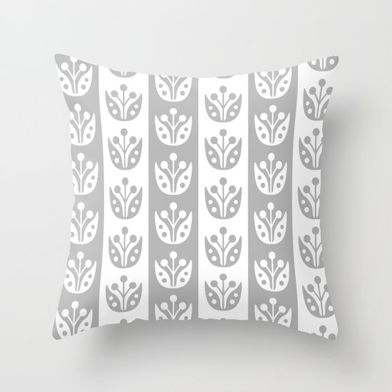 Mid Century Modern Flower Stripes Pattern Gray by tonymagner
