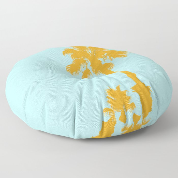 Orange palm trees silhouettes on blue Floor Pillow