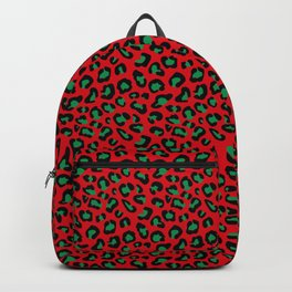 Christmas Leopard Print Black and Green on Red Backpack