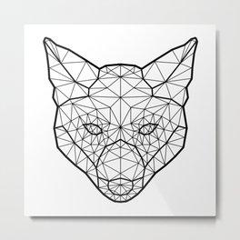 Geometric / Low Poly Fox (Black) Metal Print
