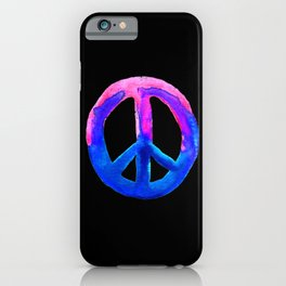 Pink Blue Watercolor Tie Dye Peace Sign iPhone Case