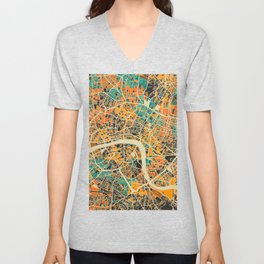 London Mosaic Map #3 Unisex V-Neck
