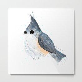 Tufted Titmouse Bird Illustration  Metal Print