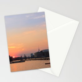 berlin kreuzberg -  skyline, sunset, river and boats Stationery Cards