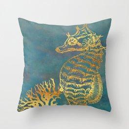 Deep Sea Life Seahorse Throw Pillow