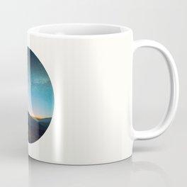 Mid Century Modern Round Circle Photo Graphic Design Mikey Way During Sunset Mountain Silhouette Coffee Mug