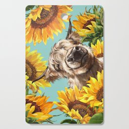Highland Cow with Sunflowers in Blue Cutting Board