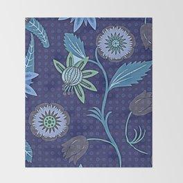 Scandinavian Watercolor Garden Flowers Throw Blanket
