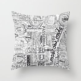 Drinks Full Tag Cloud Throw Pillow