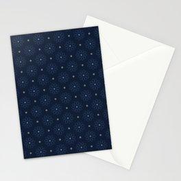 Indigo Blue Christmas Floral Boho Flower Stationery Cards