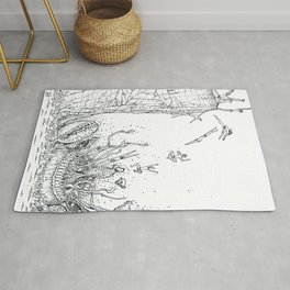 DIVING INTO THE MOUTH OF THE SEA BEAST Rug