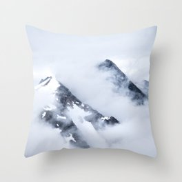 Minimalist MIsty Foggy Mountain Twin Peak Snow Capped Cold Winter Landscape Throw Pillow