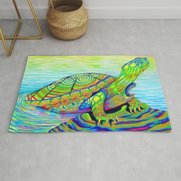 Colorful Psychedelic Neon Painted Turtle Rainbow Turtle Rug