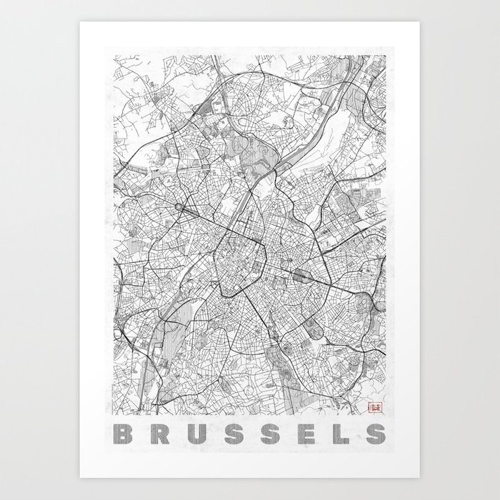 Brussels Map Line Kunstdrucke