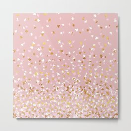 Floating Confetti - Pink Blush and Gold Metal Print