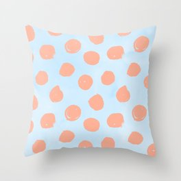 Sweet Life Dots Peach Coral Pink + Blue Raspberry Throw Pillow
