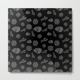 Game Night - repeating pattern nerdy d20 skull pizza Metal Print