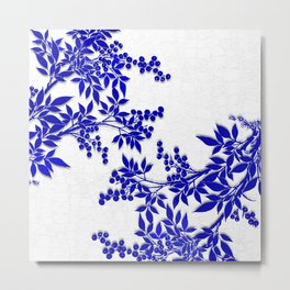 BLUE AND WHITE  TOILE LEAF Metal Print