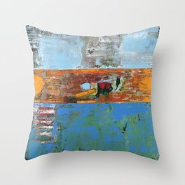 Alligator Blue Orange Modern Abstract Contemporary Art Throw Pillow
