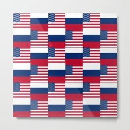Mix of flag: Usa and russia Metal Print