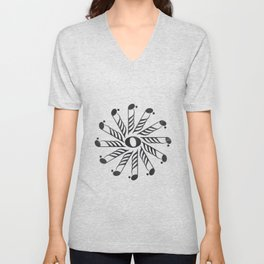 Music mandala 3 on chalkboard Unisex V-Neck