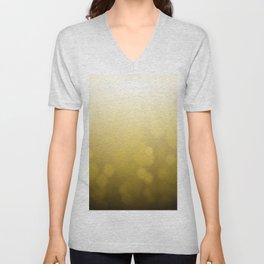 gold bokeh background. Bright lights. Unisex V-Neck