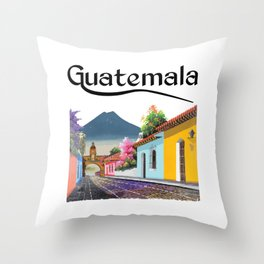 Guatemala Antigua Coffee Quetzal Chapin Guate Peten Tikal Maya Puchica Gift Retro Throw Pillow