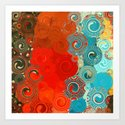 Turquoise and Red Swirls by artistichomeaccessories
