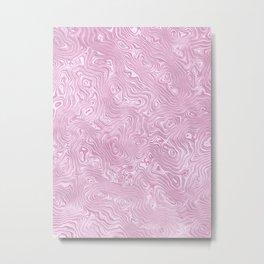 Powder Pink Silk Moire Pattern Metal Print