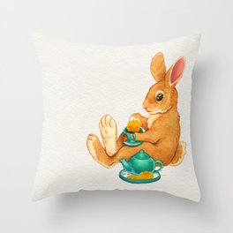 Tea Time Bunny Throw Pillow