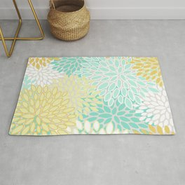 Floral Prints, Mint Green and Yellow, Modern Print Art Rug