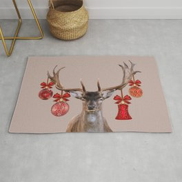 Reindeer Head Illustration - X-mas beige Rug