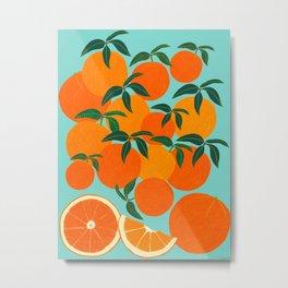 Orange Harvest - Blue Metal Print