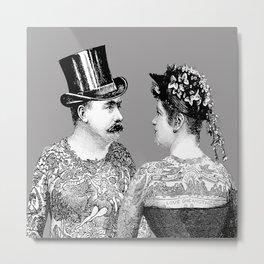 Tattooed Victorian Lovers | Tattooed Couple | Vintage Tattoos | Victorian Tattoos | Victorian Gothic Metal Print