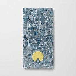 space city sun blue Metal Print