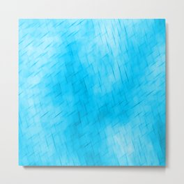 Line texture of light blue oblique dashes with a dark intersection on a luminous charcoal. Metal Print