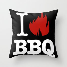 I Love BBQ Throw Pillow