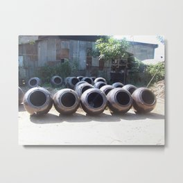 Dark Clay Pots Metal Print