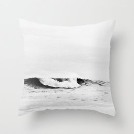 Minimalist Black and White Ocean Wave Photograph Throw Pillow